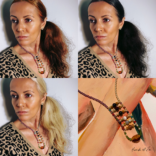 Boho Necklace 04 Natalia | Czech crystals and different gemstones