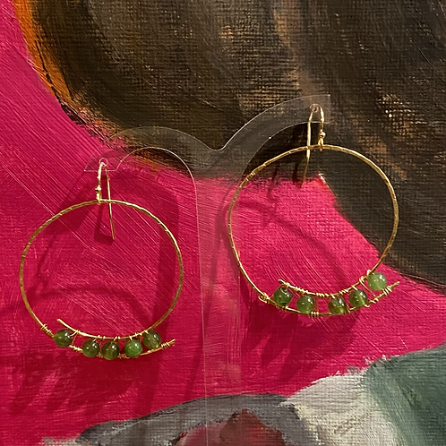 Rustic Gold Hoops with Green Gemstones