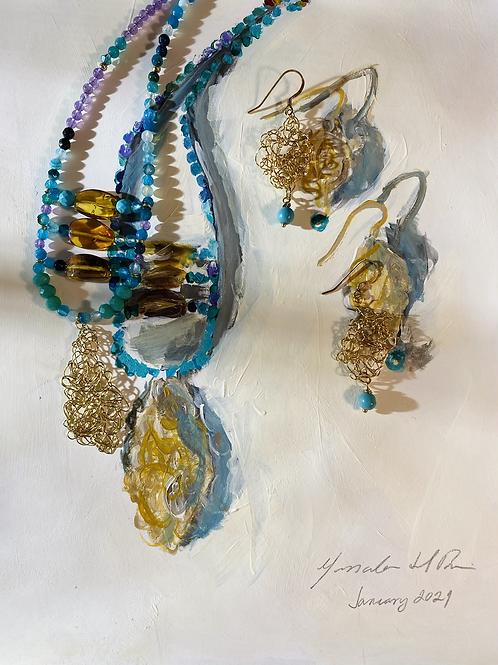 Boho Necklace  02   Gemstones and Amber   Handmade in Brussels Belgium