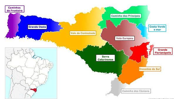 Mapa Santa Catarina Regioes Turisticas