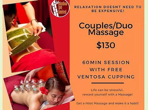 Couples/Duo 60mins session + Ventosa Cupping - Valid Weekdays!