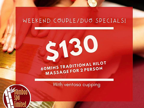 Weekend Couples/Duo 60mins session + Ventosa Cupping