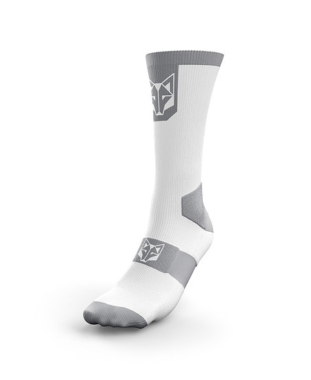 Cycling Socks High Cut Pure White & Silver Grey