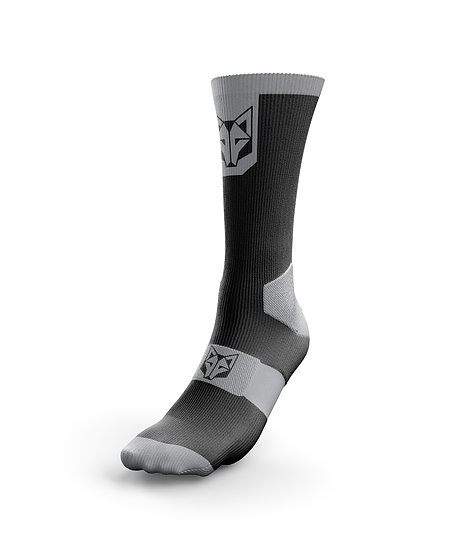 Cycling Socks High Cut Black & Silver Grey