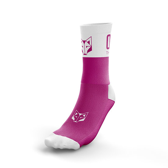 Multi-Sport Socks Medium Cut Fluo Pink / White