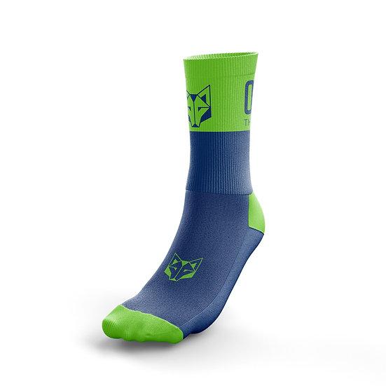 Multi-Sport Socks Medium Cut Electric Blue / Fluo Green