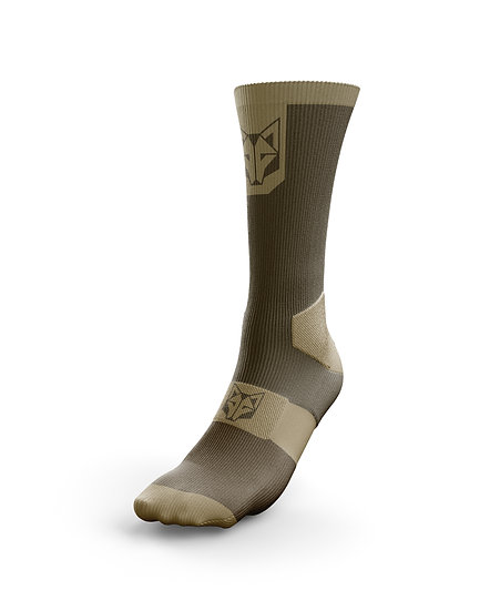 Cycling Socks High Cut Coffee & Gold