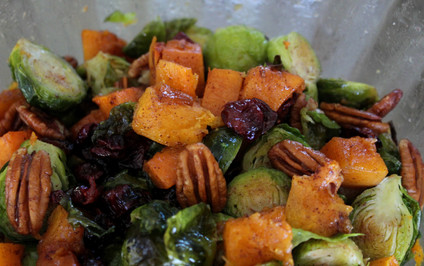 Roasted Brussels Sprouts, Cinnamon Butternut Squash, Pecans & Cranberries prepared by Christina