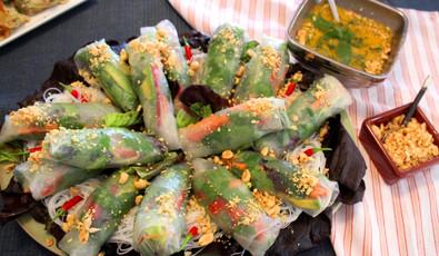 Avocado Veggie Spring Rolls with Sweet Thai Mango Sauce prepared by Jackie