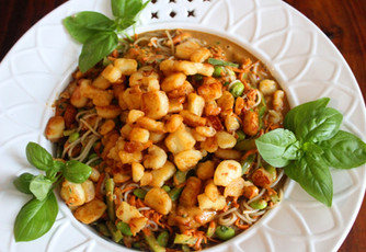 Better Than Takeout 20 Minute Peanut Noodles with Sesame Halloumi prepared by Michele