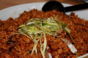 Kimchi Fried Rice with Scallion Salad prepared by Christina