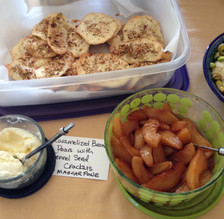 Caramelized Brandy Pears with Fennel Seed Crackers prepared by Jackie