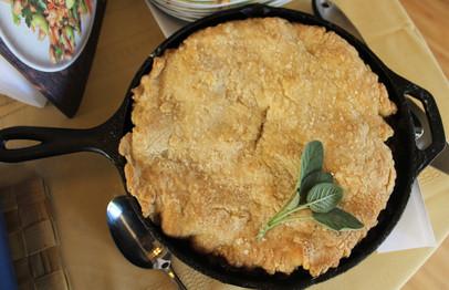 Duck, Date & Rutabaga Pot Pie with a Duck-Fat Biscuit Crust prepared by Julia