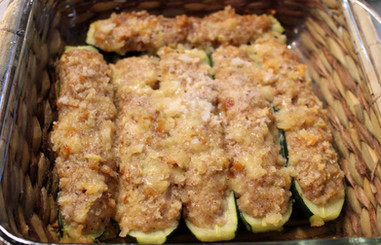 Courgettes Farcies aux Amandes (Zucchini Stuffed with Almonds and Cheese) prepared by Shelley
