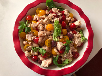 Evolution tomato salad from Jamie's Food Revolution prepared by Linda