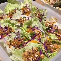 Thai Chicken Peanut Lettuce Tacos prepared by Mary