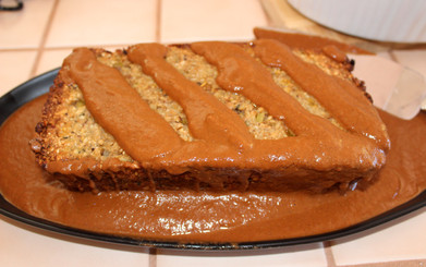 Cashew loaf with squash stuffing  & chocolate chile gravy prepared by Jackie