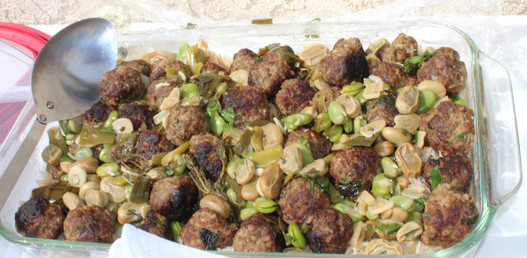 """Beef Meatballs with Fava Beans and Lemon from """"Jerusalem"""" prepared by Becky"""