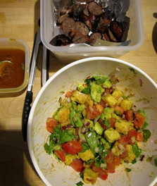 Chris Schlesinger and John Willoughby's Grilled Sausage and Cornbread Salad prepared by Sandy