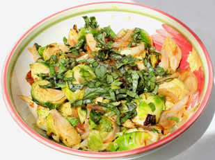 Pan-fried Brussels Sprouts and Shallots with Pomegranate and Purple Basil from ottolenghi.co.uk prepared by Sari