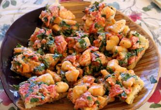 Bruschetta with Shrimp, Tarragon & Arugula prepared by Darla
