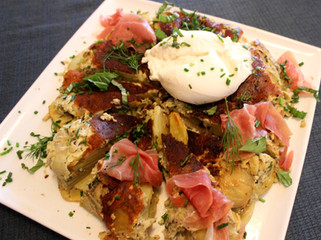 Spanish Tortilla with Burrata and Herbs prepared by Dianne