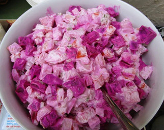 Beet Salad with Sour Cream Dressing prepared by Shelley