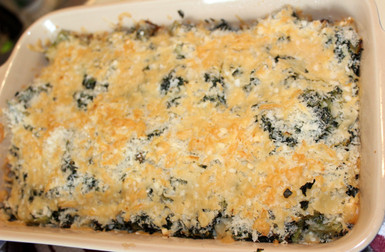 Artichoke Heart & Spinach Gratin from The Vegetable Dishes I Can't Live Without prepared by Julia
