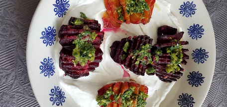 Hasselback beets with lime leaf butter from Flavor prepared by Michele