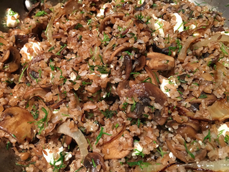 Bulgur with mushrooms & feta cheese from Simple prepared by Shelley