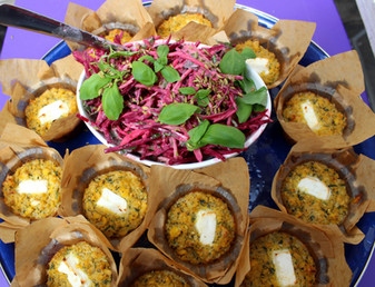 """Corn Cakes with Beet & Apple Salad from """"Nopi"""" prepared by MaryLou"""