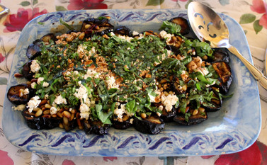 Grilled Eggplant & Goat Cheese Salad prepared by Sue
