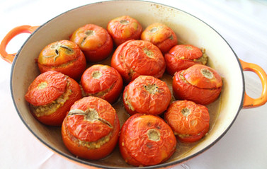 Tomatoes Stuffed with Trahana (Domates Gemistes me Trahana) from The Country Cooking of Greece prepared by MaryLou