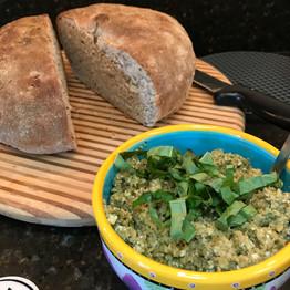 Green olive & almond tapenade Multigrain bread prepared by Michele