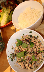 Chicken with Lime, Chile & Fresh Herbs (Larb Gai) (2009) prepared by Julia