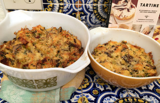 Savory Bread Pudding with Wild Mushrooms & Bacon from Tartine All Day prepared by Adele