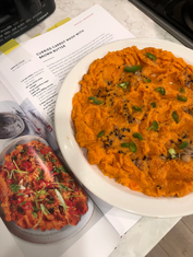 Curried carrot mash with brown butter from Flavor prepared by Dianne