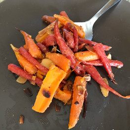 Burnt Carrots with Honey, Black Pepper, Butter and Almonds prepared by Kate