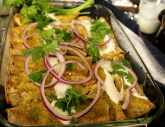 "Enchiladas Verdes a la ""Pingüi"") (Green Enchiladas w Spinach & Tofu) prepared by Meredyth"
