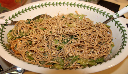 Cold Hunan Noodles with Sesame & Greens from Still Life with Menu prepared by Jackie