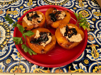 Balsamic Peaches with Creamed Cashews from Vegan Soul Kitchen prepared by Linda