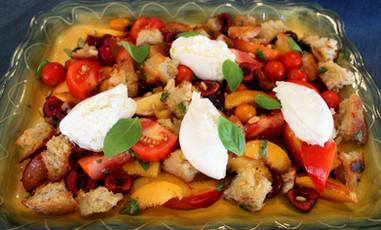 Tuscan Summer Stone Fruit, Tomato, and Burrata Panzanella Salad prepared by Mary