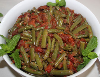 Green Bean Ragout with Tomatoes & Mint prepared by Shelley