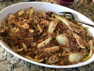 Roasted fennel with apples, taleggio cheese and almonds prepared by Dianne