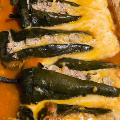 Roasted Poblano Rellenos with Chicken prepared by Michele
