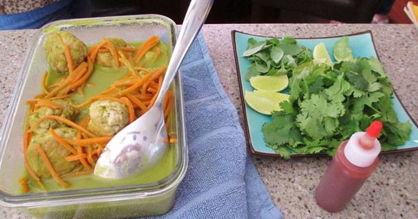 Lemongrass Chicken Meatballs in Green Curry Broth prepared by MaryLou
