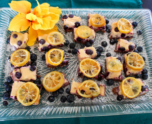 Blueberry Lemon Cheesecake Bars with Candied Lemon prepared by Linda