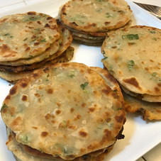 Flaky Scallion Pancakes prepared by Shelley