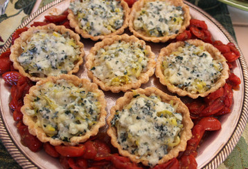 Leek & blue cheese tartlets with roasted cherry tomatoes prepared by Michele
