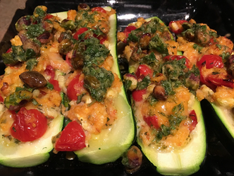 Stuffed zucchini with pine nut salsa from Simple prepared by Shelley